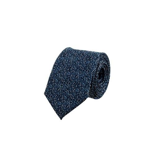עניבה עלים תכלת על מצע כחול