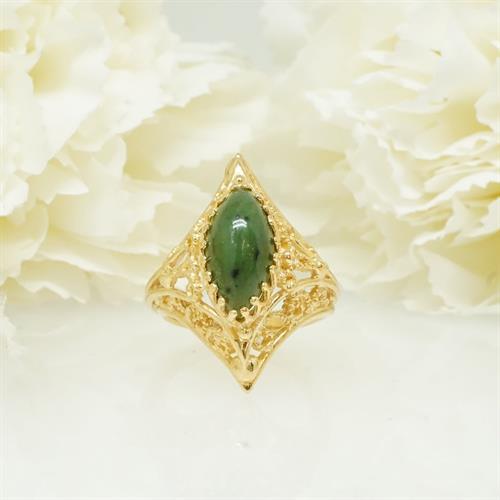 טבעת עם אבן ירוקה אגת מרקיזה וינטאג'