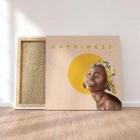 HAPPINESS - הדפס ציור על קנבס ריבועי