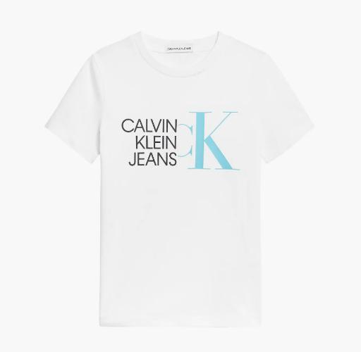 טי שירט לבנה CALVIN KLEIN לוגו תכלת - מידות 4-16