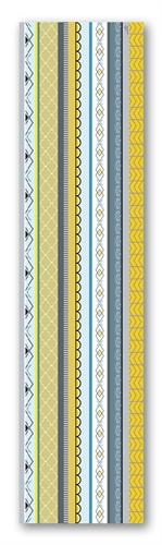 ראנר מעוצב לשולחן - דגם פסים צהוב, עשוי PVC - דוגמא