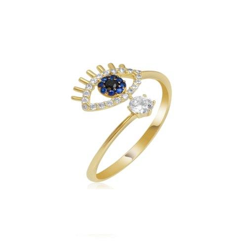 טבעת זהב פתוחה עם עין הרע וזרקונים