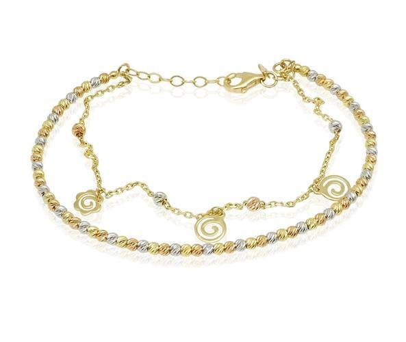 צמיד זהב כדורי וצמיד חוליות מחובר ב3 צבעי זהב