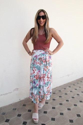 חצאית מעטפת לבנה פרחונית