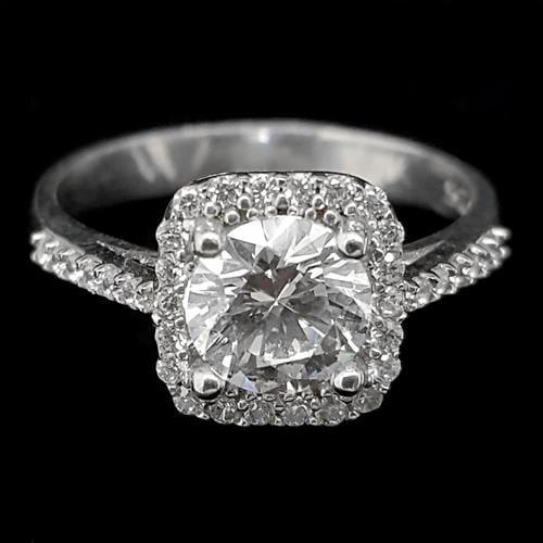 טבעת כסף מרובעת משובצת זרקון במרכזה ואבני זרקון  RG5552 | תכשיטי כסף | טבעות כסף