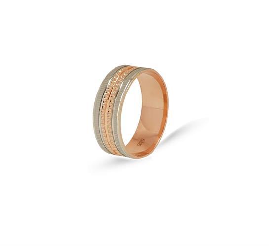 טבעת נישואין רחבה משולבת בזהב אדום ולבן