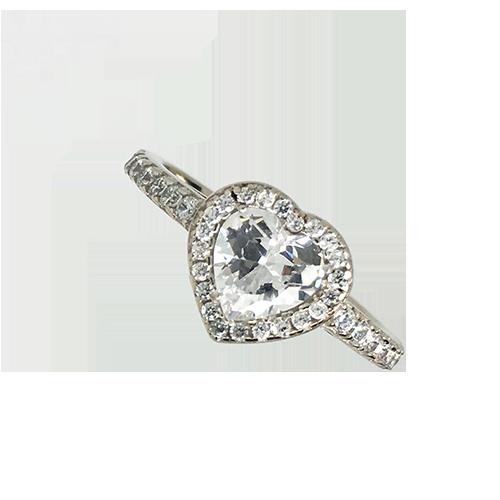טבעת ילדות ונערות זהב לבן 14K לב משובץ OP07150047601