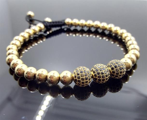 """צמיד יוקרה של מעצב העל ANIL ARJANDAS חרוזים 6 מ""""מ ציפוי זהב 18K ואבני זרקון 8 מ""""מ"""
