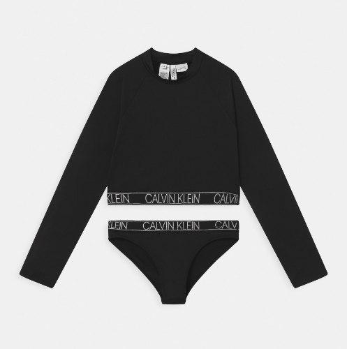 בגד ים ביקיני שחור עם שרוול ארוך CALVIN KLIEN - מידות 8-16