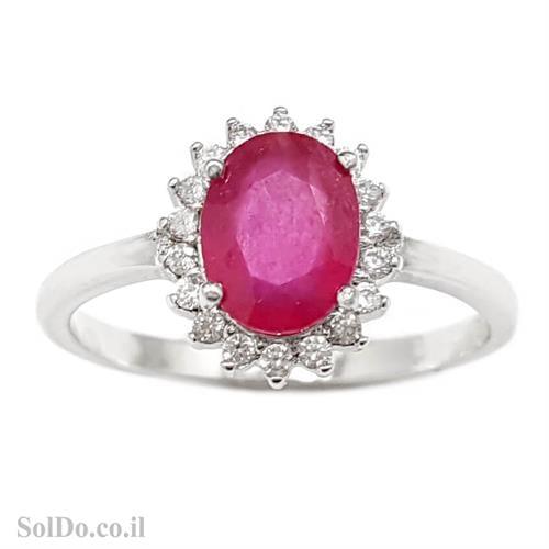 טבעת מכסף משובצת אבן רובי אדומה ואבני זרקון קטנות  RG6000 | תכשיטי כסף 925 | טבעות כסף