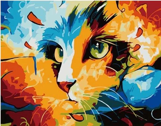 צביעה לפי מספרים - חתול אבסטרקט