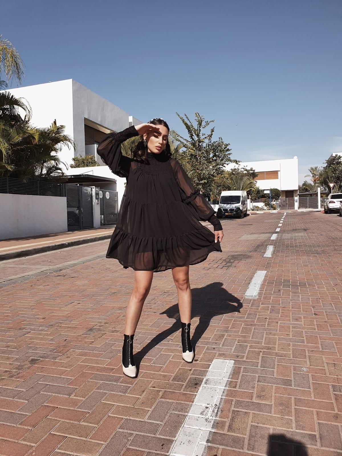 שמלת גבריאל שיפון - שחורה