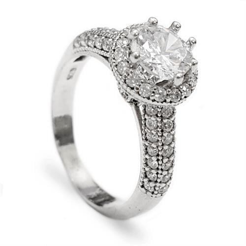 טבעת כסף משובצת זרקון סוליטר 7mm  ואבני זרקון בצדדים RG5572 | תכשיטי כסף | טבעות כסף