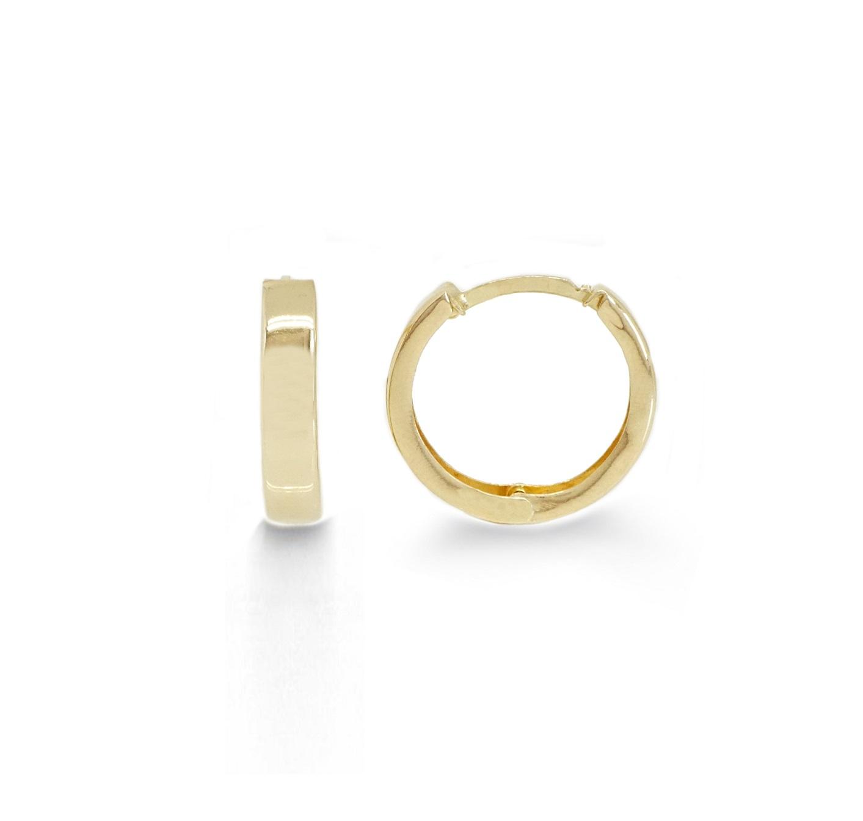 """עגילי חישוק זהב קטנים 1.7 ס""""מ"""