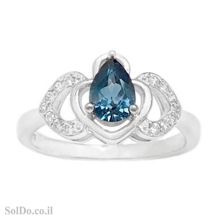 טבעת מכסף משובצת אבן טופז כחולה  וזרקונים RG6159   תכשיטי כסף 925   טבעות כסף