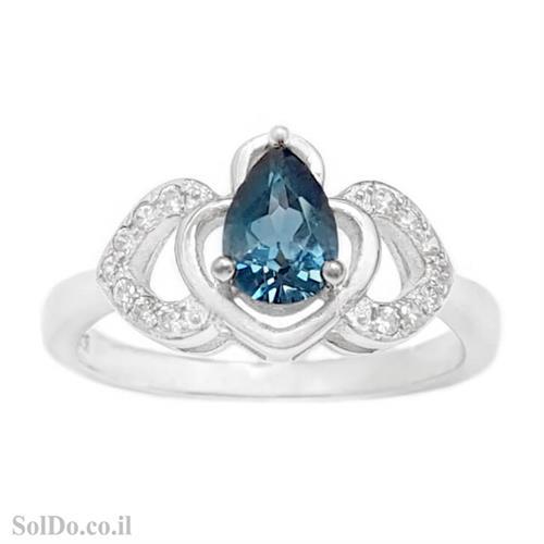 טבעת מכסף משובצת אבן טופז כחולה  וזרקונים RG6159 | תכשיטי כסף 925 | טבעות כסף