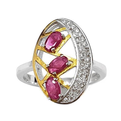 טבעת כסף משובצת אבני רובי ואבני זרקון קטנות  RG5907 | תכשיטי כסף 925 | טבעות כסף