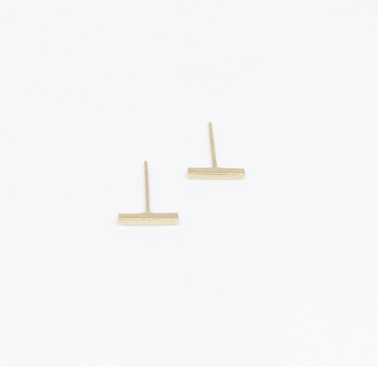 עגילי פס זהב 14K