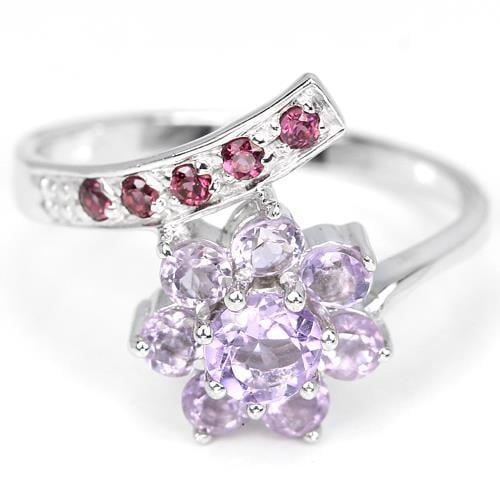 טבעת כסף משובצת אמטיסט סגול וגארנט RG1064