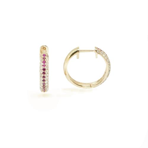 עגילי יהלומים   עגילי חישוק יהלומים   עגילי ג'יפסי רובי ויהלומים  עגילים משובצים