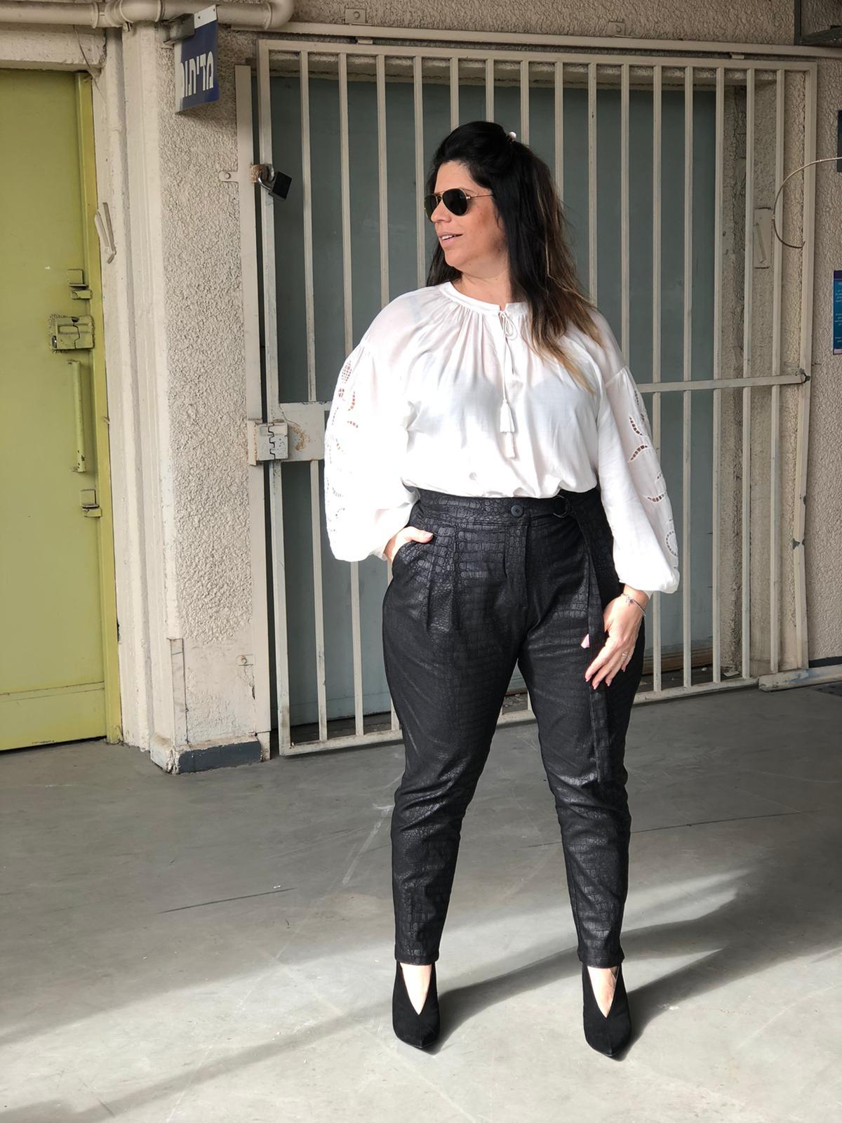 מכנס טורי מנוחש שחור