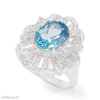 טבעת מכסף משובצת אבן טופז כחולה  ואבני זרקון RG6336 | תכשיטי כסף 925 | טבעות כסף