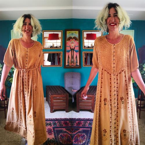 שמלה הודית מקסי וינטג' מידה XXL