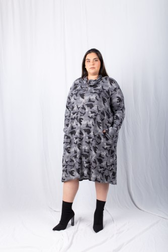שמלת פריז ריב צבאי אפור