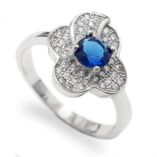 טבעת כסף משובצת ספיר קוורץ כחול וזרקונים RG5636 | תכשיטי כסף 925 | טבעות כסף