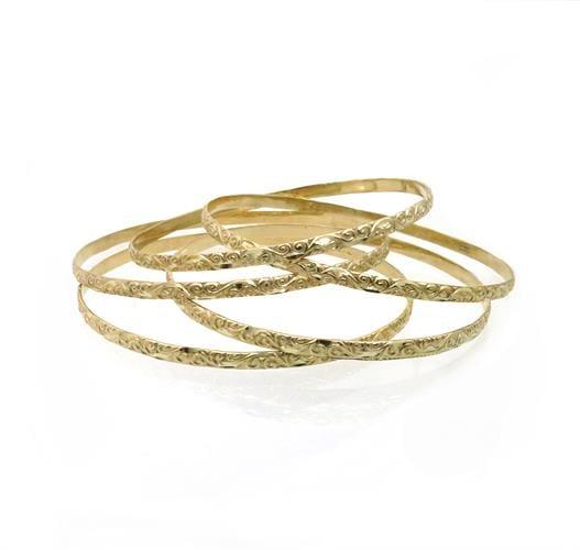 צמיד זהב מרוקאי מעוטר זהב צהוב 14 קאראט