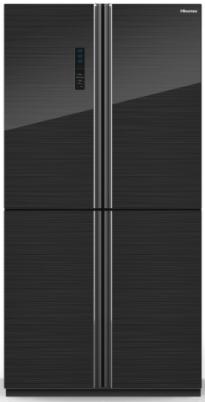 מקרר הייסנס דגם RQ82 זכוכית שחורה 4 דלתות מהדרין Hisense
