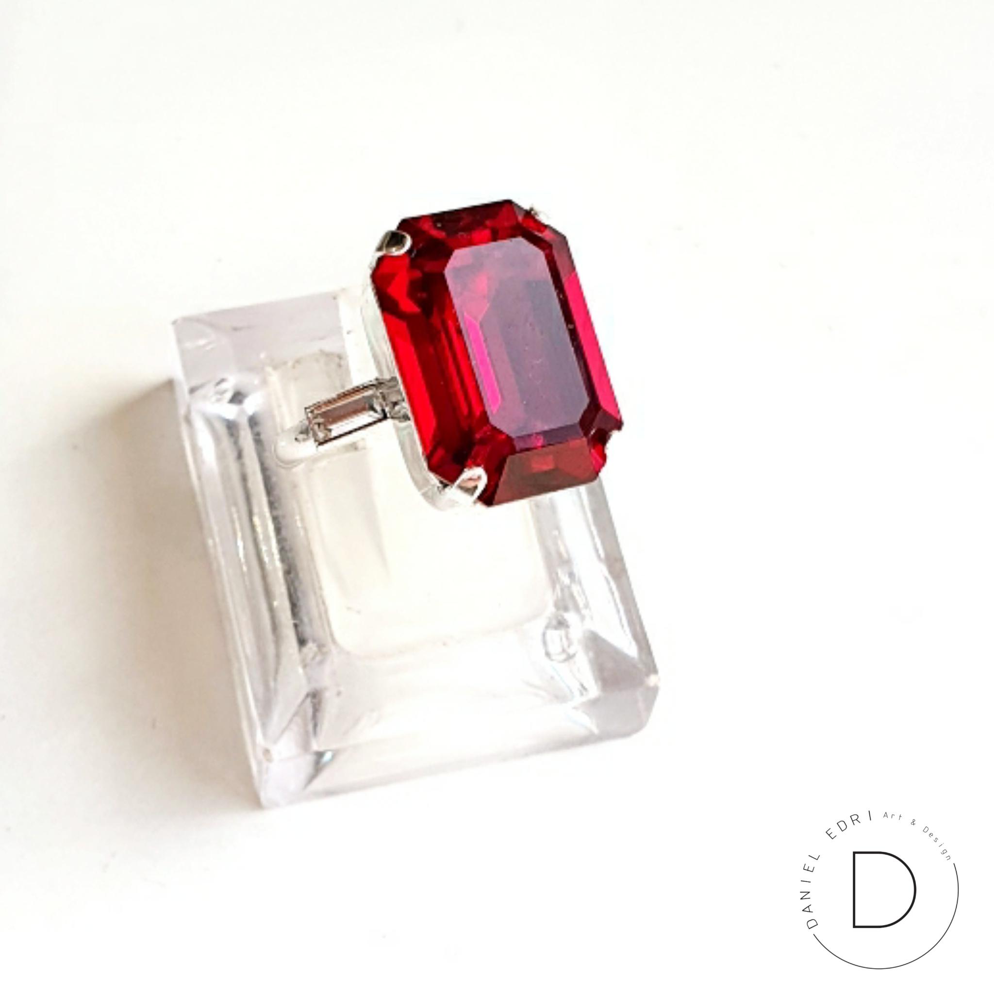 טבעת מלבן סברובסקי- כסף בורדו 2