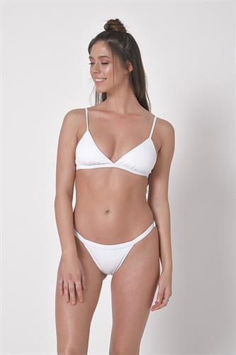 בגד ים ביקיני ברזילאי לבן - טופ איקס / תחתון בגד ים מתכוונן