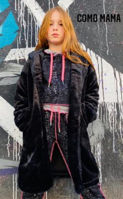מעיל פרווה שחור ארוך