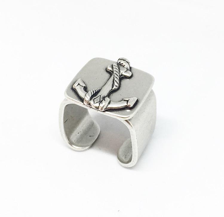 טבעת חותם עוגן כסף מושחר