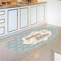 חיסול! שטיח פי וי סי צורני למטבח תכלת-אפרסק| שטיח למטבח |שטיח פי וי סי | שטיח PVC