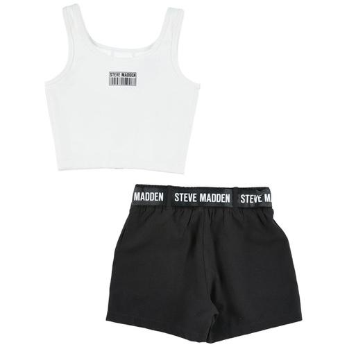 STEVE MADDEN סט חולצה ומכנס שחור לבן מידות 4-16