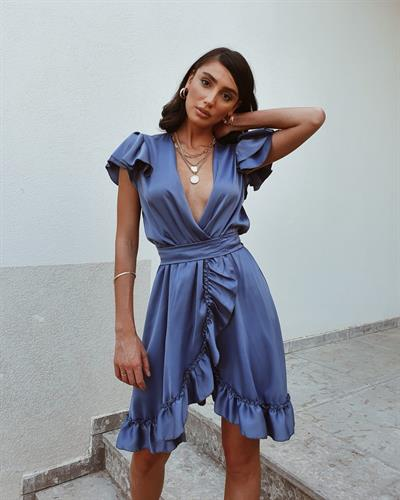 שמלת פנלופי מעטפת - כחולה