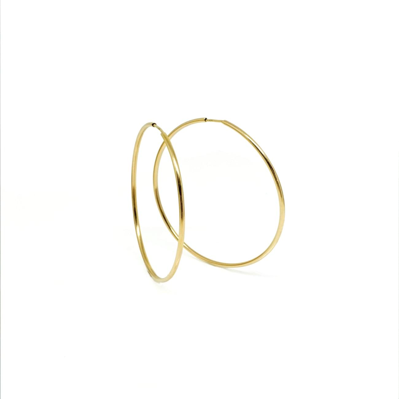 """עגילי חישוק חלקים זהב צהוב 4.7 ס""""מ 14 קראט"""