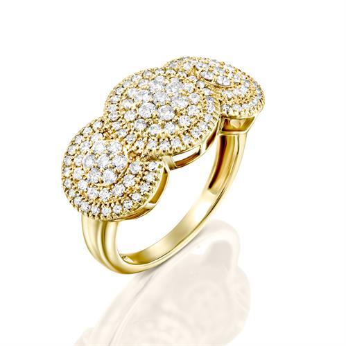 טבעת החלום ליהלום משובצת 1 קראט יהלומים בזהב צהוב או לבן