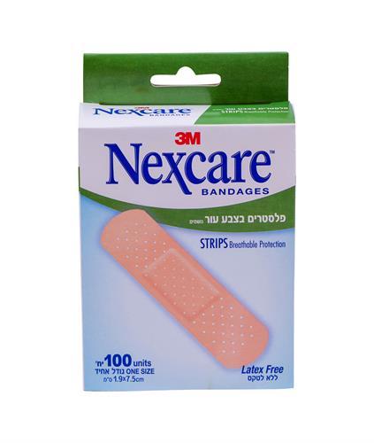 Nexcare  פלסטרים צבע עור נושמים 100 יחידות בגודל אחיד