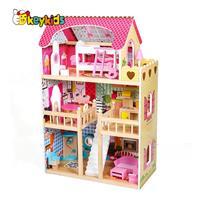 בית בובות עץ לילדים ורוד דגם שלומית W06A163C עם תאורת לד צבעונית