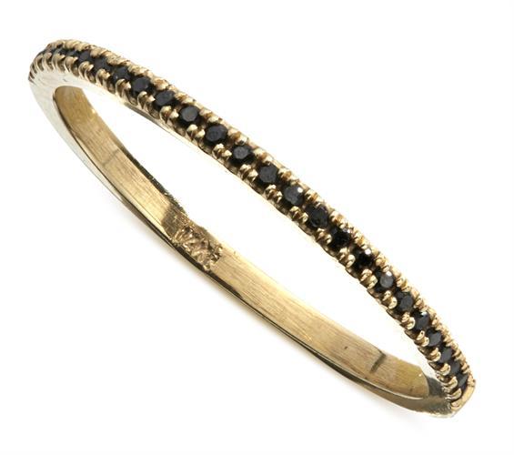 טבעת פס יהלומים 14K