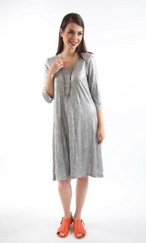 שמלת מנגו כסופה בד מקומט