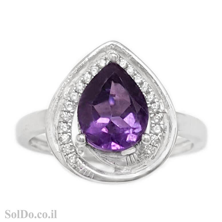 טבעת מכסף משובצת אבן אמטיסט וזרקונים RG6106 | תכשיטי כסף 925 | טבעות כסף