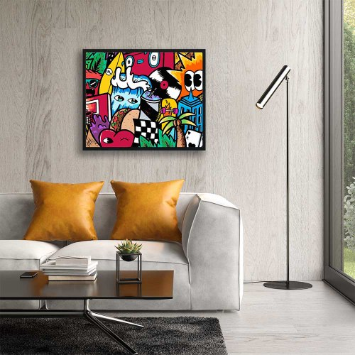 ציור צבעוני לסלון של האמן כפיר תג'ר