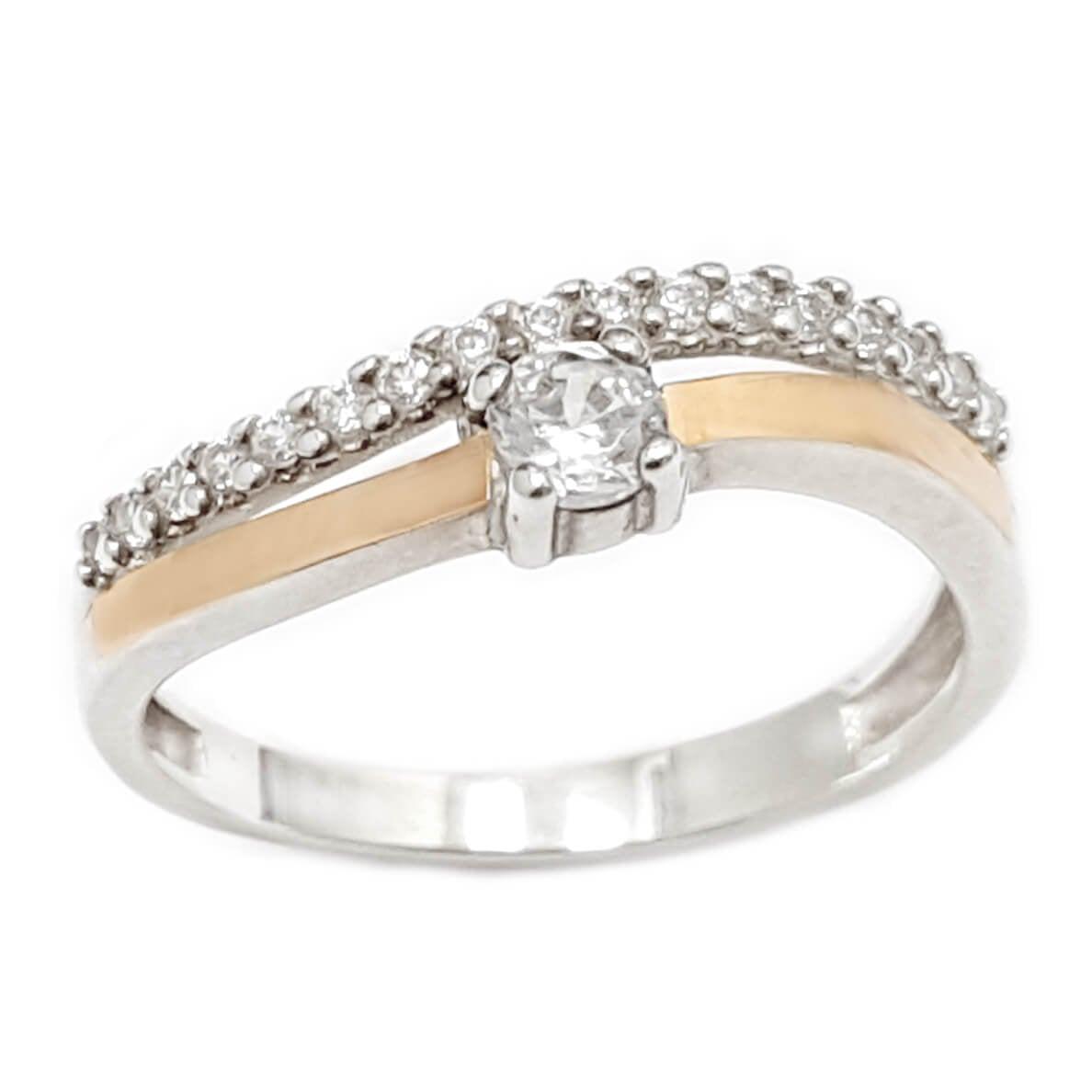 טבעת כסף מצופה זהב 9K משובצת אבן זרקון סוליטר ושורת אבני זרקון  RG5957   תכשיטי כסף   טבעות כסף
