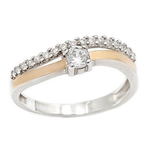 טבעת כסף מצופה זהב 9K משובצת אבן זרקון סוליטר ושורת אבני זרקון  RG5957 | תכשיטי כסף | טבעות כסף