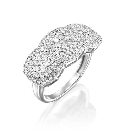 טבעת יהלומי השלווה משובצת 1 קראט יהלומים בזהב לבן או צהוב