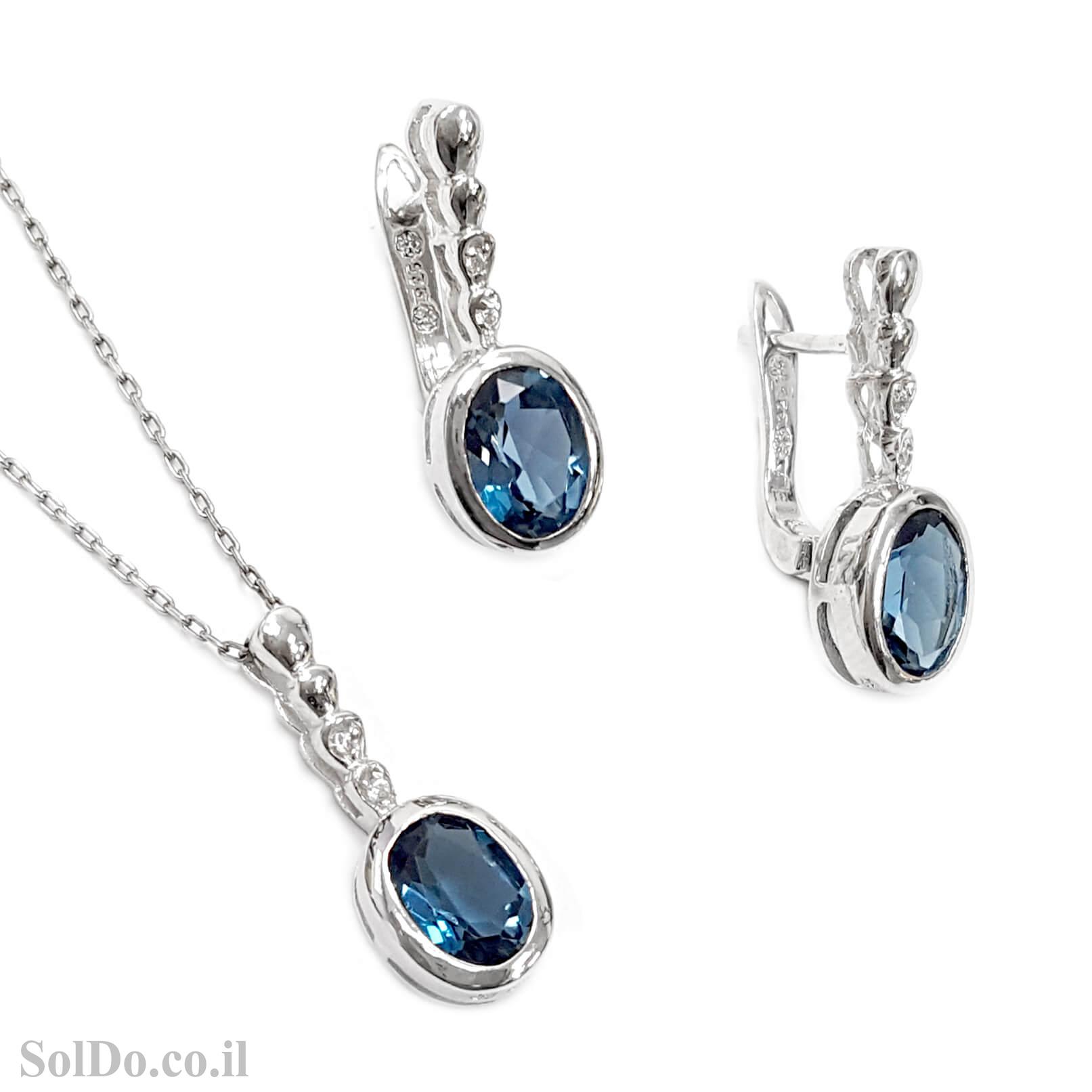 סט עגילים ותליון מכסף משובצים אבני טופז כחולה וזרקונים S1594